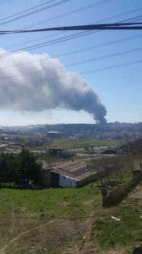 Arnavutköy Hadımköy fabrika yangını fotoğrafları