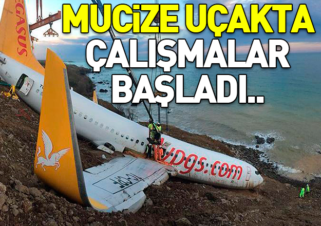 Trabzon Havalimanı'nda vinçlerle çalışmalara başlandı