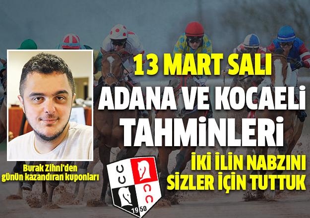 13 Mart 2018 Salı Kocaeli ve Adana At Yarışı Tahminleri - Kazandıran Kuponlar Burada