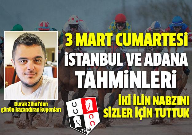 3 Mart 2018 Cumartesi İstanbul ve Adana At Yarışı Tahminleri - Hazır Kuponlar ve Altılı Ganyan Bülteni