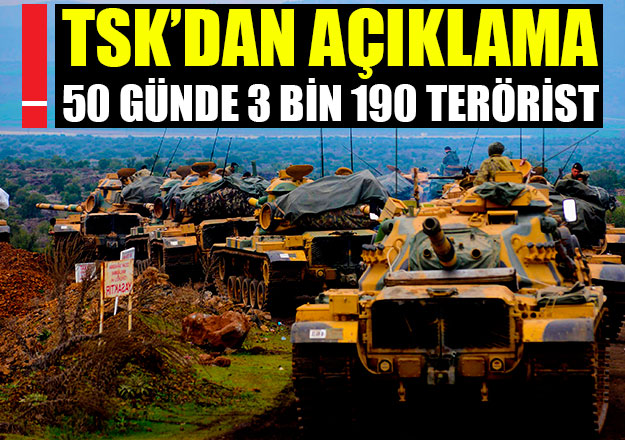 TSK: 3 bin 190 terörist etkisiz hale getirildi