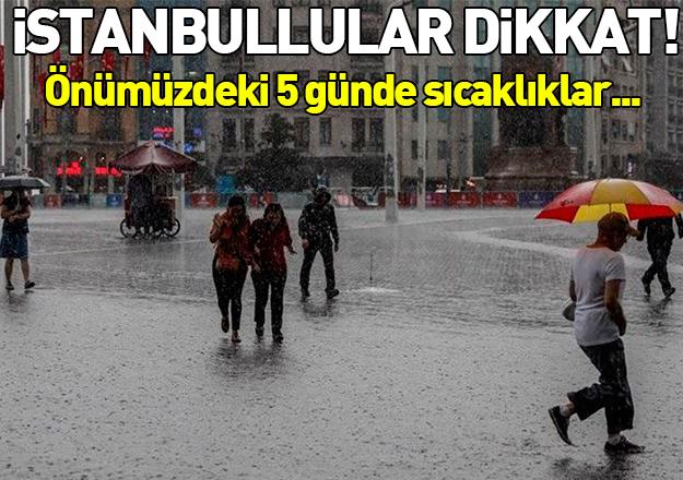 İstanbul'da hava nasıl olacak yağmur yağacak mı? 5 günlük hava durumu tahmini