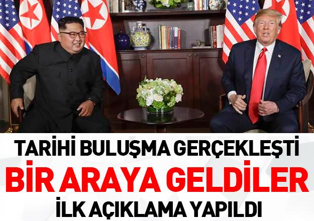 Tarihte ilk! ABD Başkanı ile Kuzey Kore Lideri bir arada