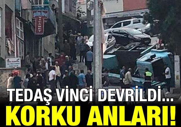 TEDAŞ vinci devrildi! Trabzon'da korku anları...