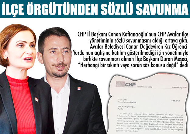 CHP ilçe örgütünden sözlu savunma!