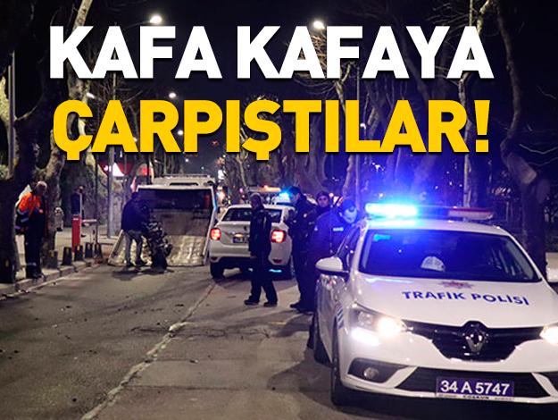 Üsküdar'da otomobil ve motosiklet kafa kafaya çarpıştı