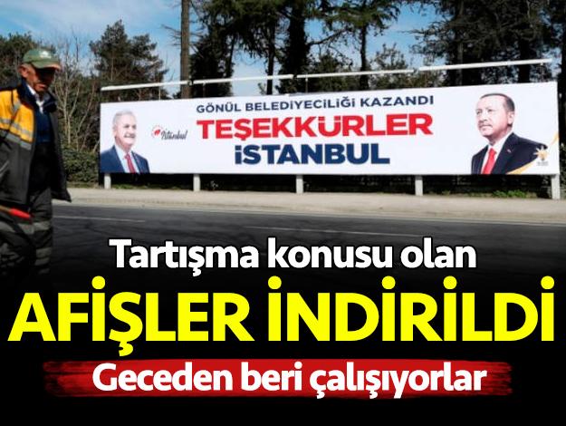 'Teşekkürler İstanbul' pankartları kaldırılıyor