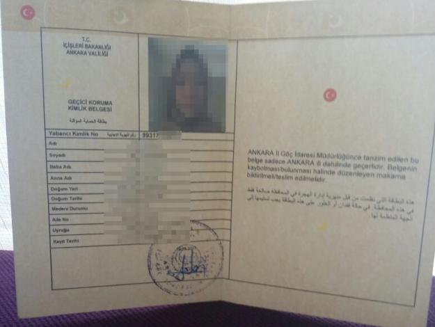 Suriye vatandaşları için geçici koruma kimliği kayıp ilanı