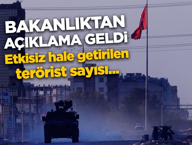 Barış Pınarı Harekatı'nda son durum! Etkisiz hale getirilen terörist sayısı açıklandı