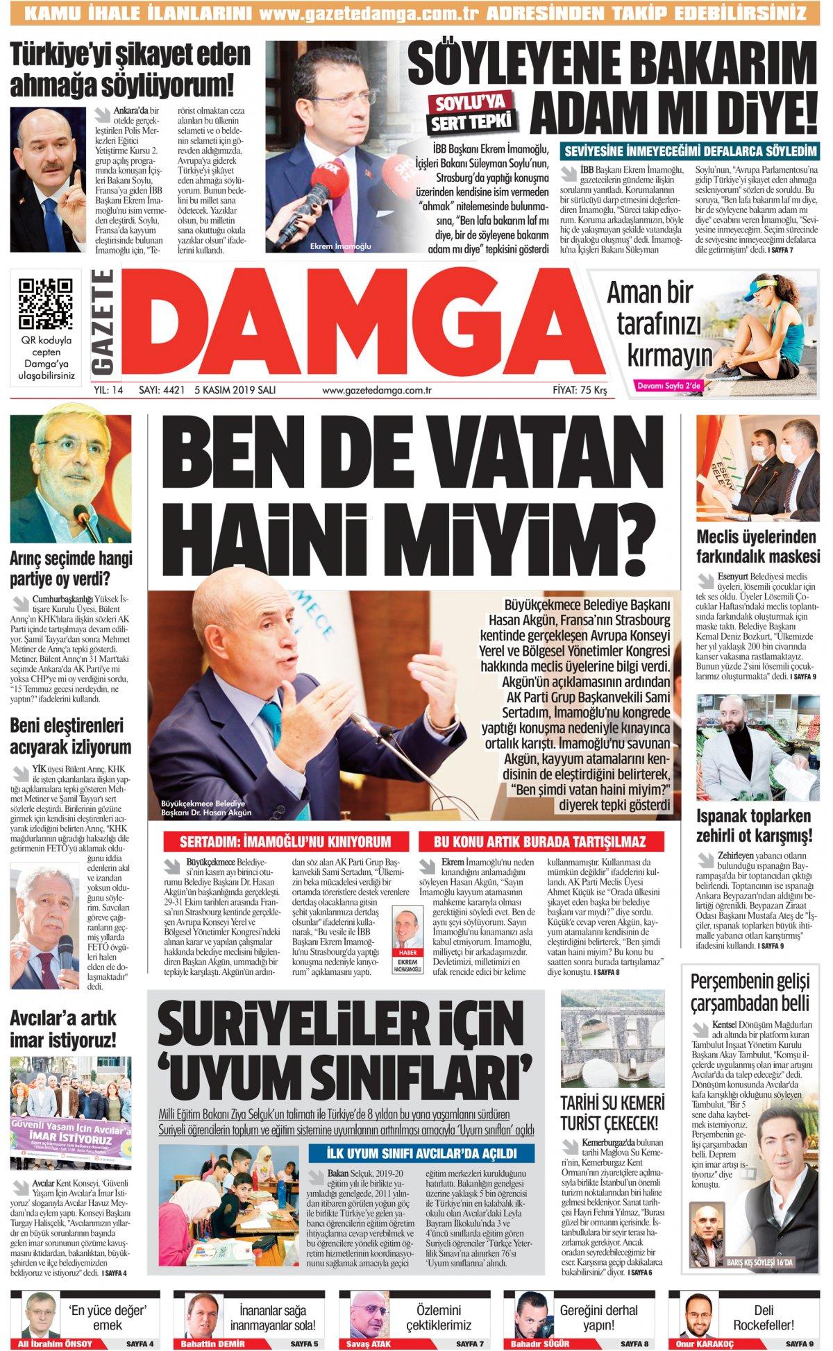 Gazete Damga - 05.11.2019 Sayfaları