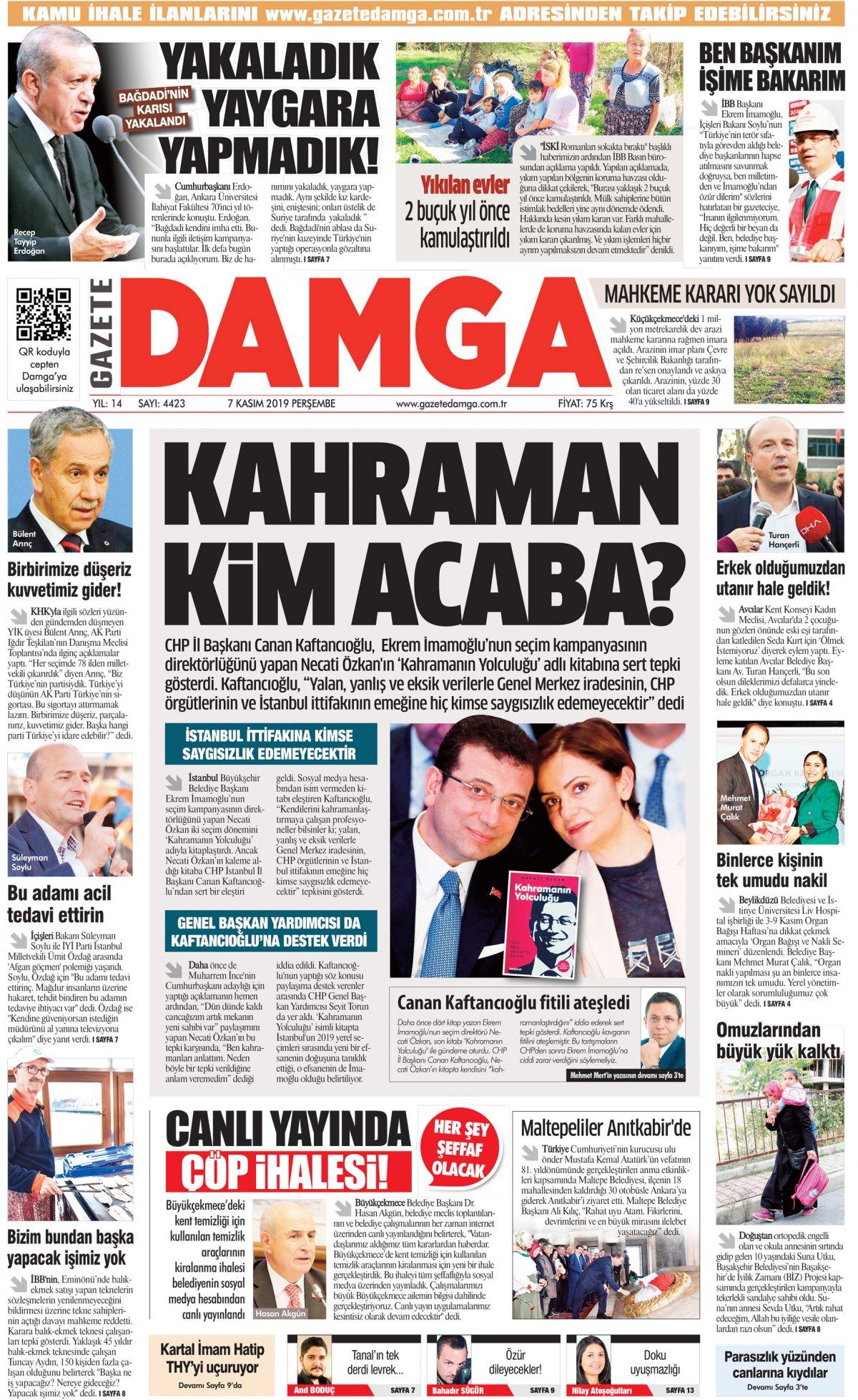 Gazete Damga - 07.11.2019 Sayfaları