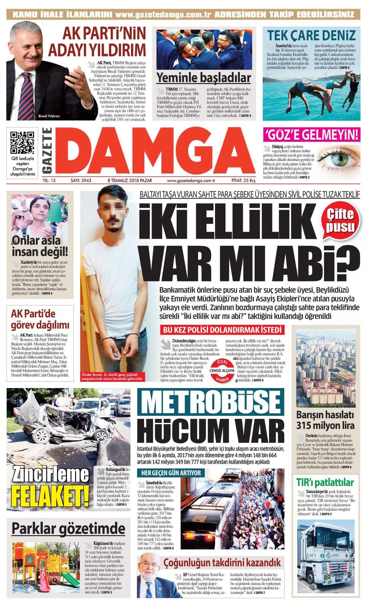 Gazete Damga - 08.07.2018 Manşeti