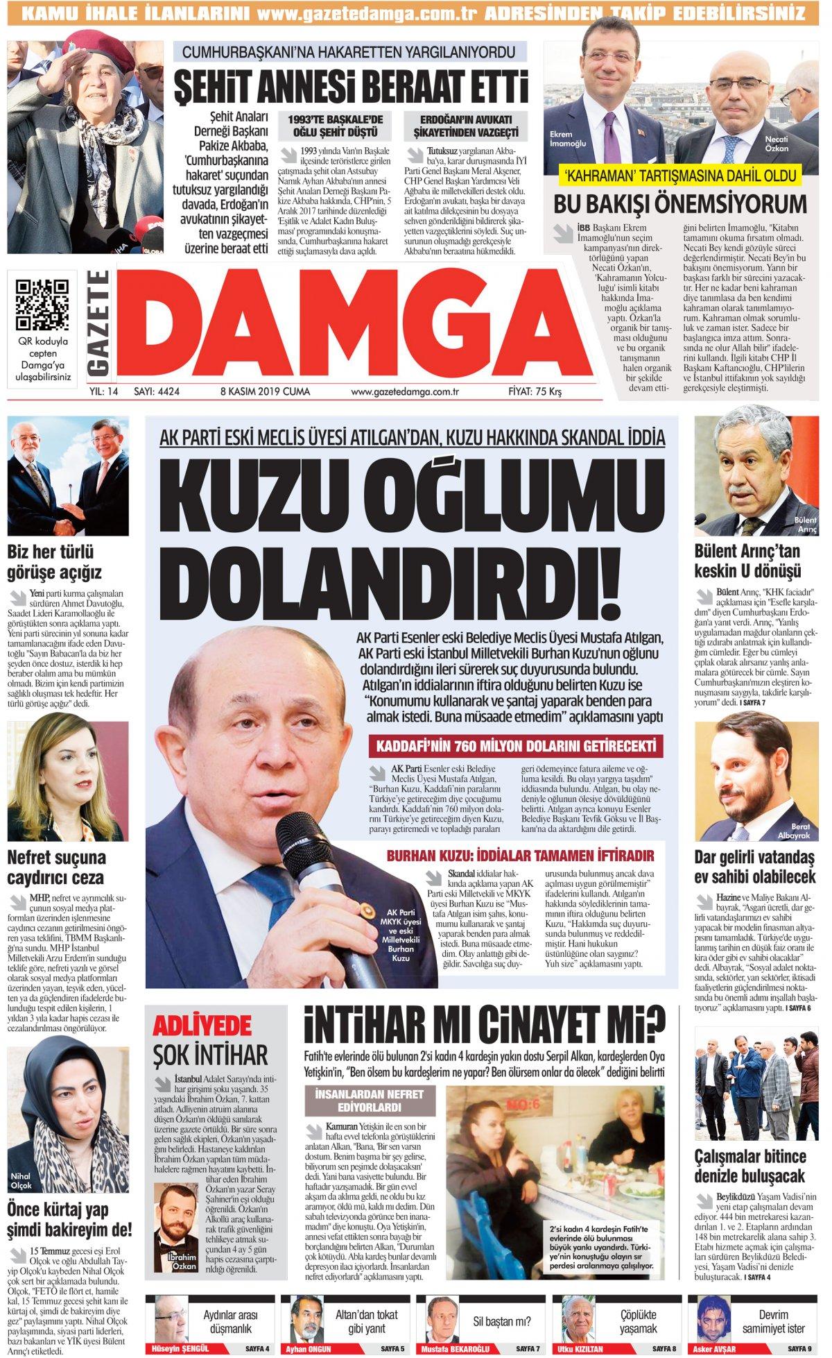 Gazete Damga - 08.11.2019 Sayfaları