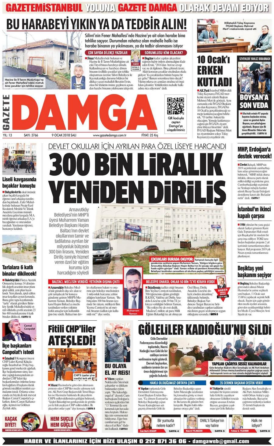 Gazete Damga - 09.01.2018 Manşeti