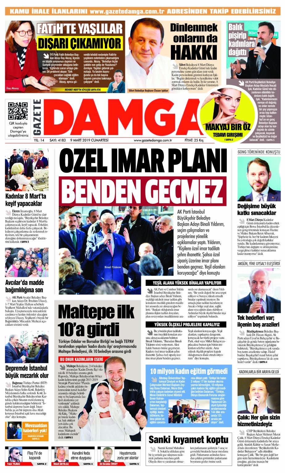 Gazete Damga - 09.03.2019 Sayfaları