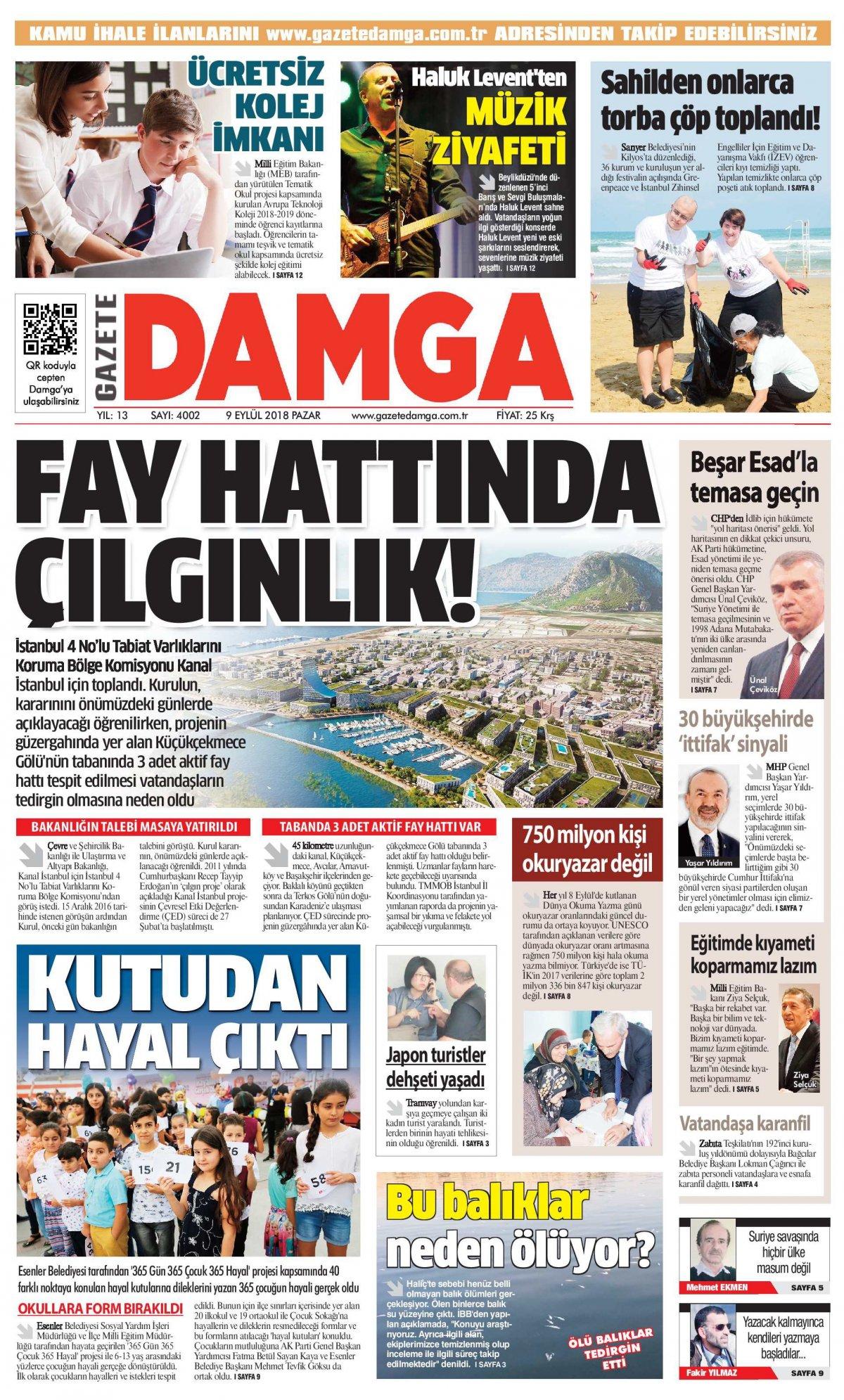 Gazete Damga - 09.09.2018 Manşeti