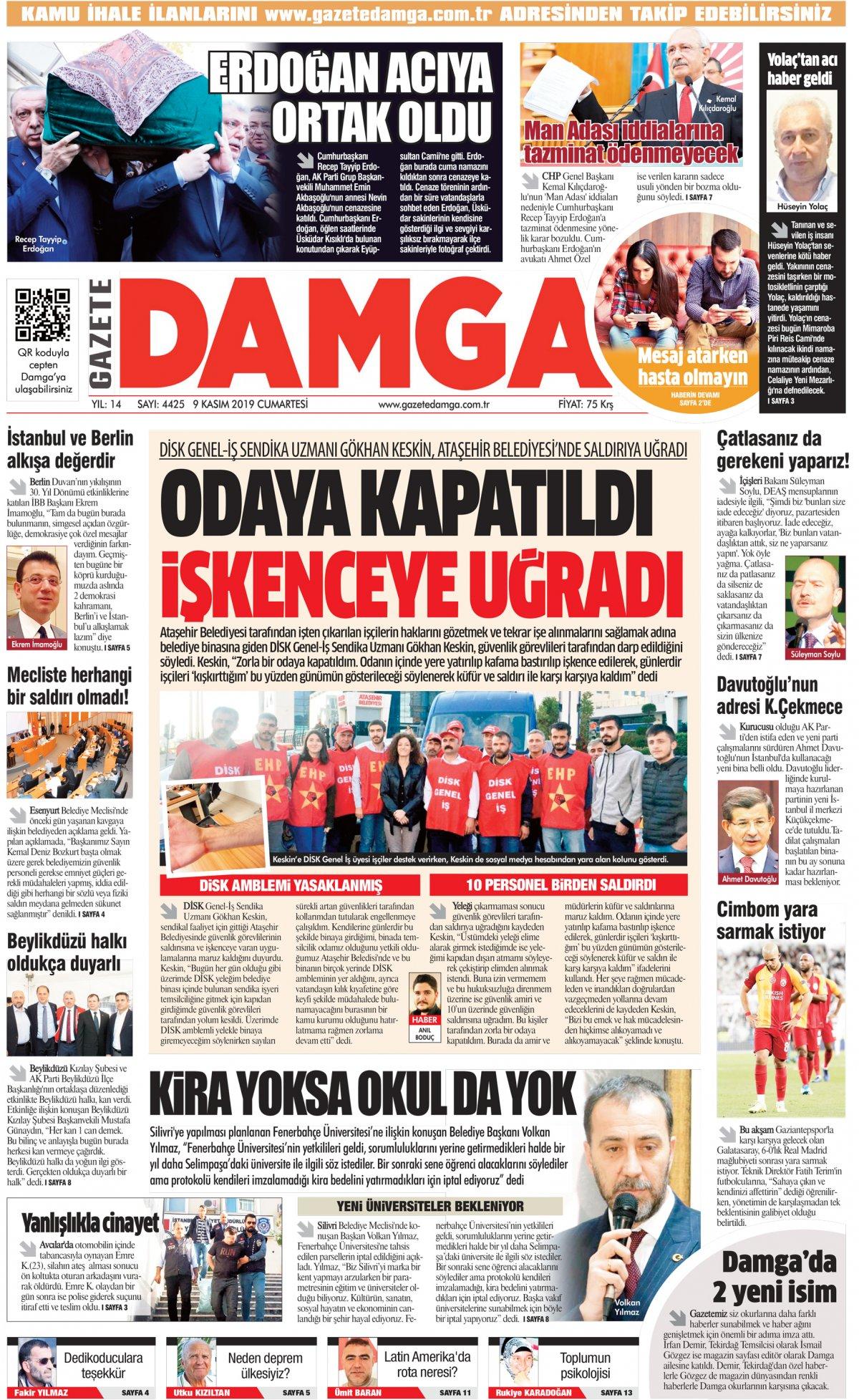 Gazete Damga - 09.11.2019 Sayfaları