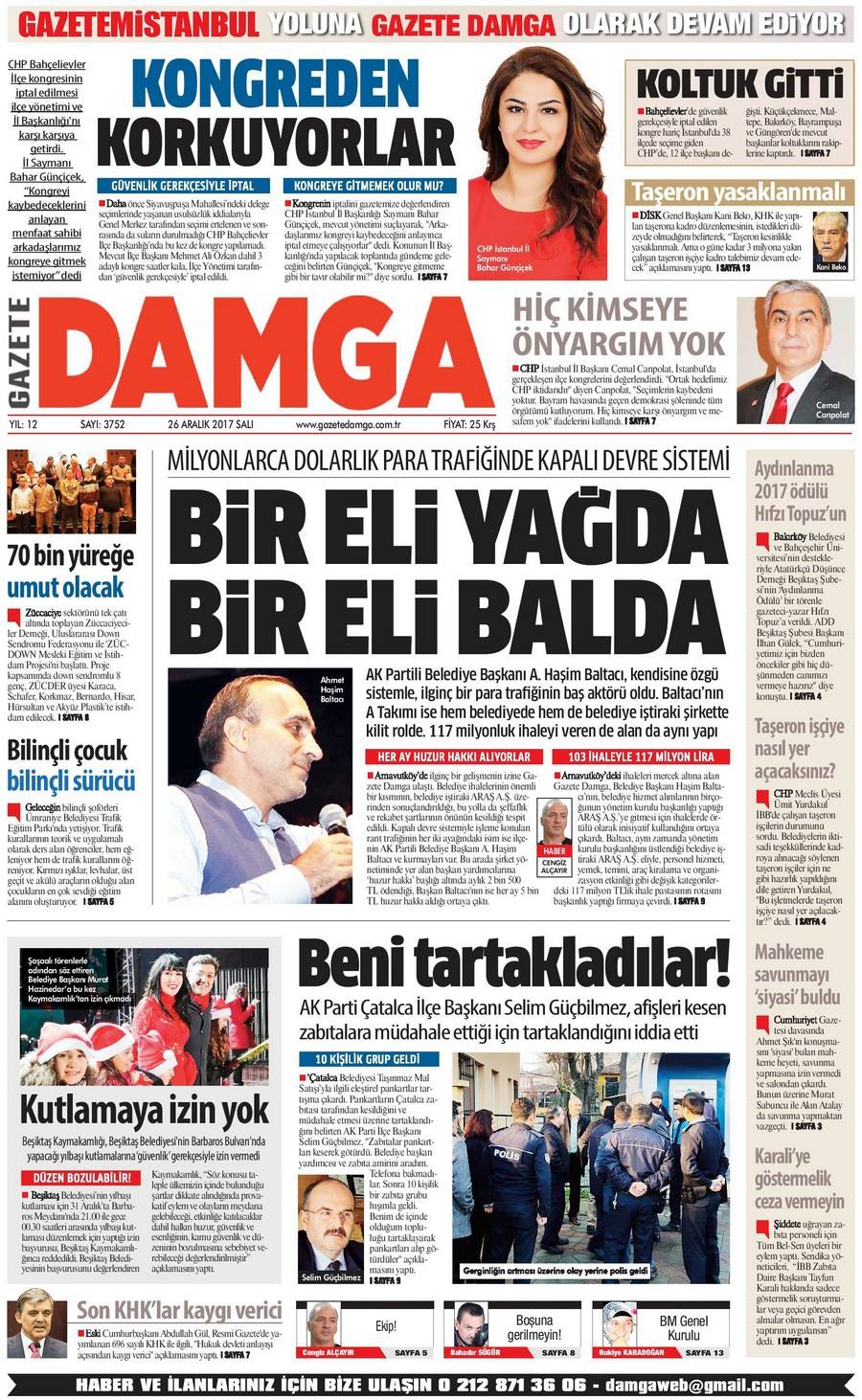 Gazete Damga - 26.12.2017 Manşeti
