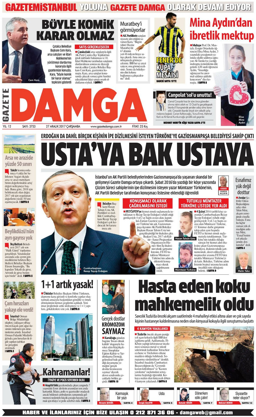Gazete Damga - 27.12.2017 Manşeti