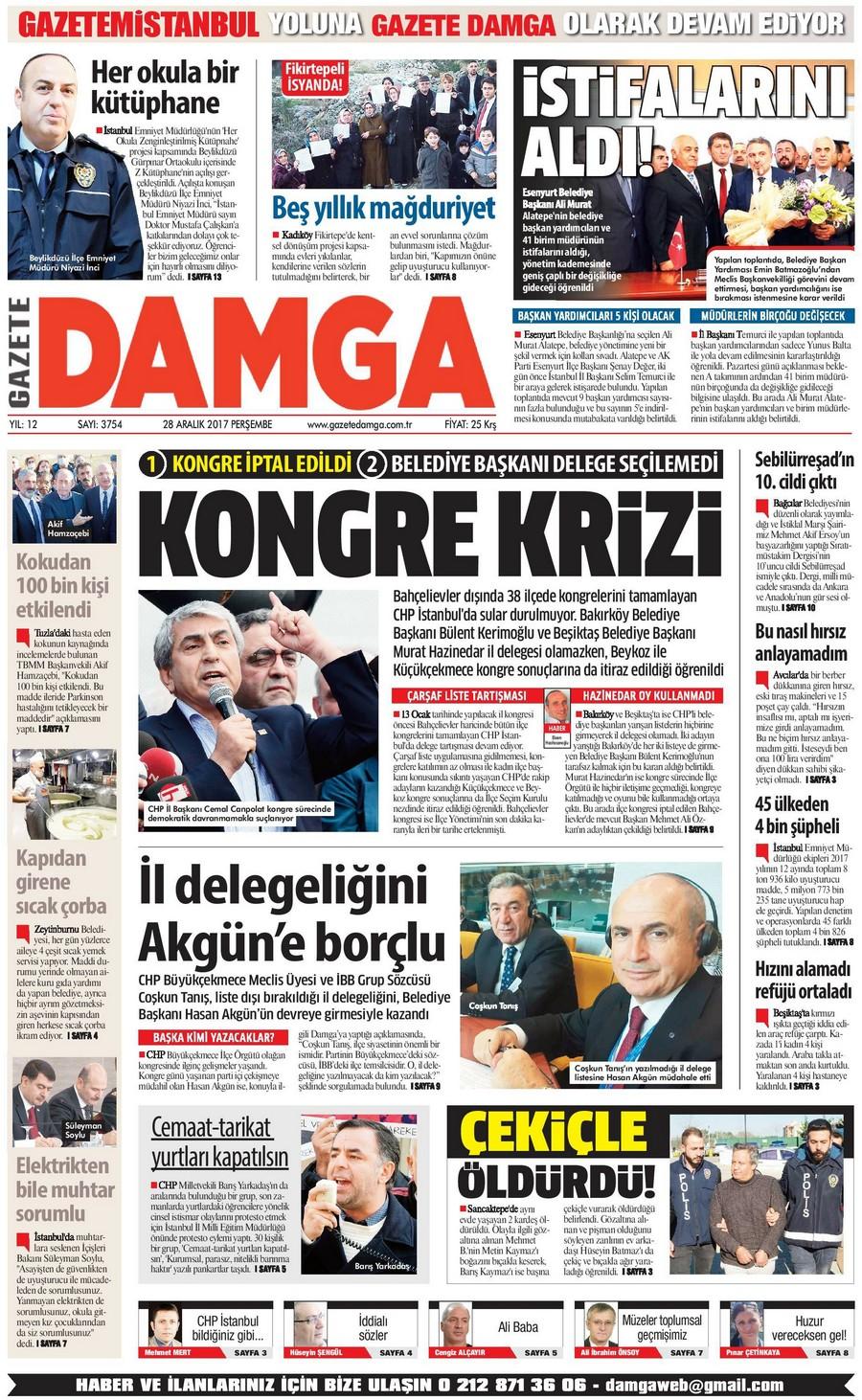Gazete Damga - 28.12.2017 Manşeti