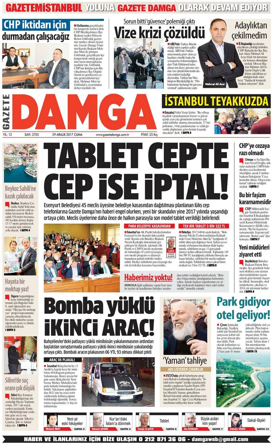 Gazete Damga - 29.12.2017 Manşeti