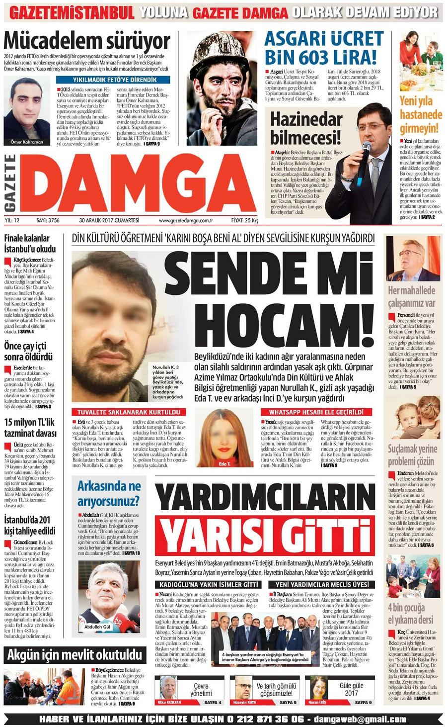 Gazete Damga - 30.12.2017 Manşeti