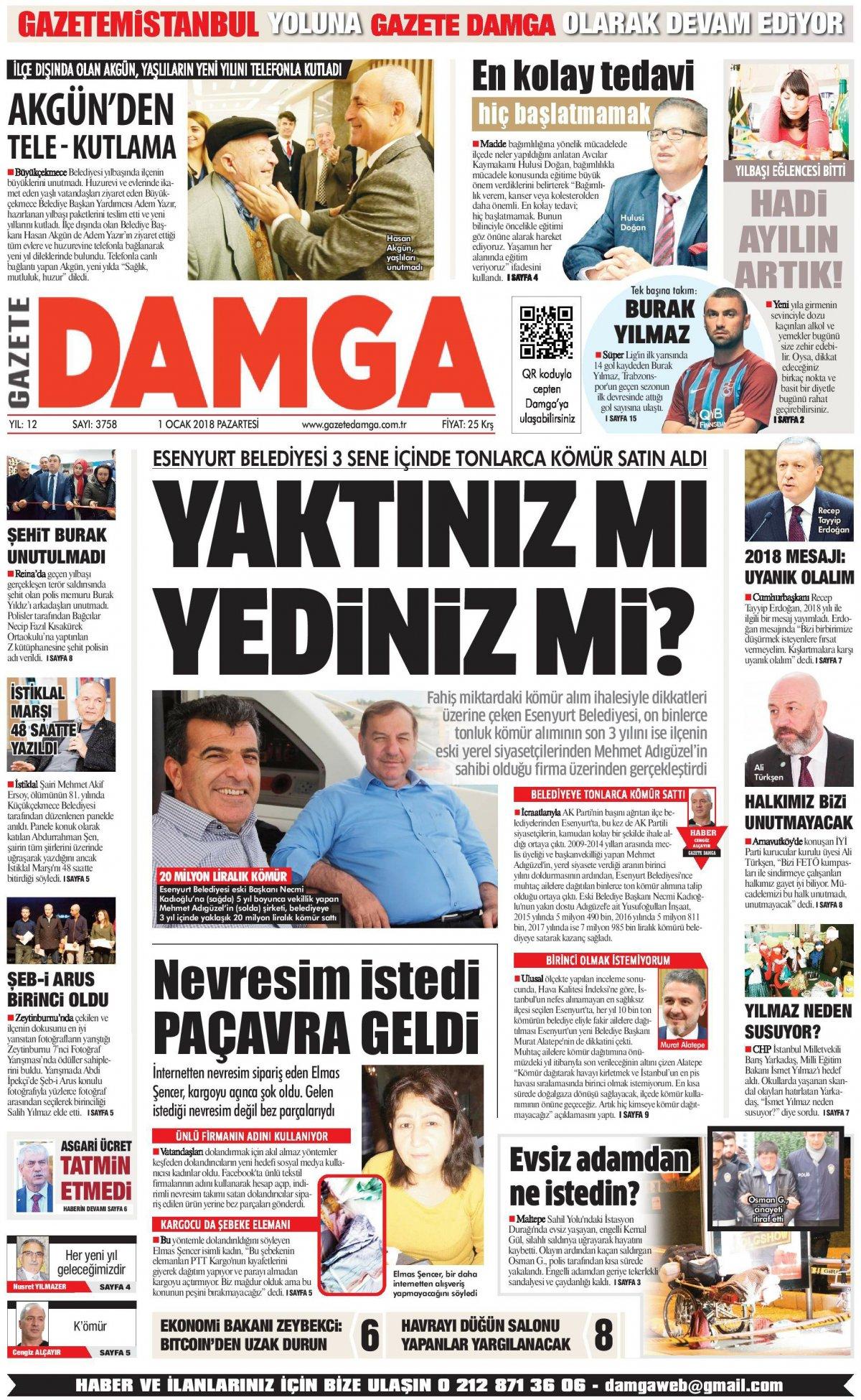 Gazete Damga - 01.01.2018 Manşeti