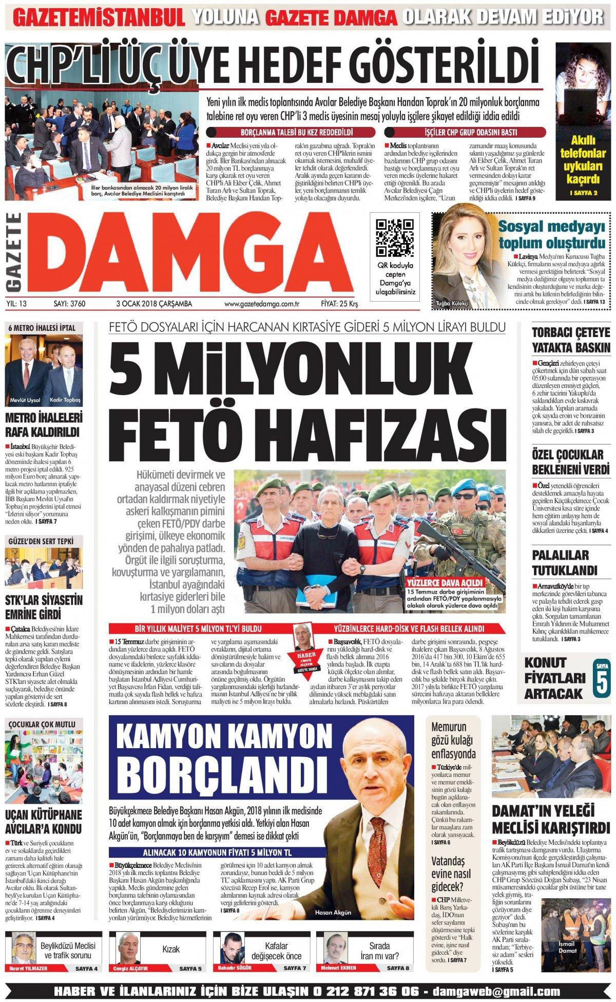 Gazete Damga - 03.01.2018 Manşeti