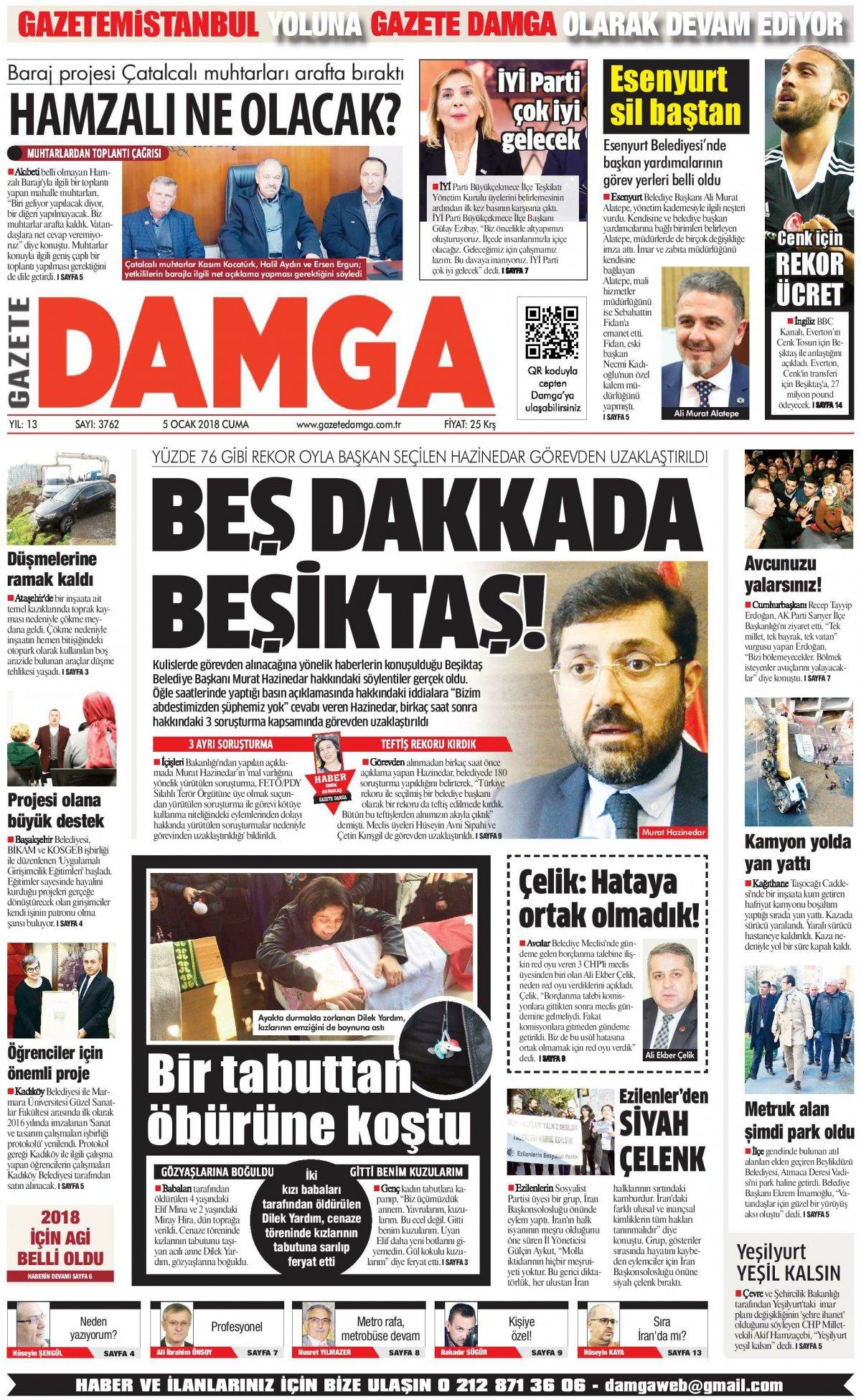 Gazete Damga - 05.01.2018 Manşeti
