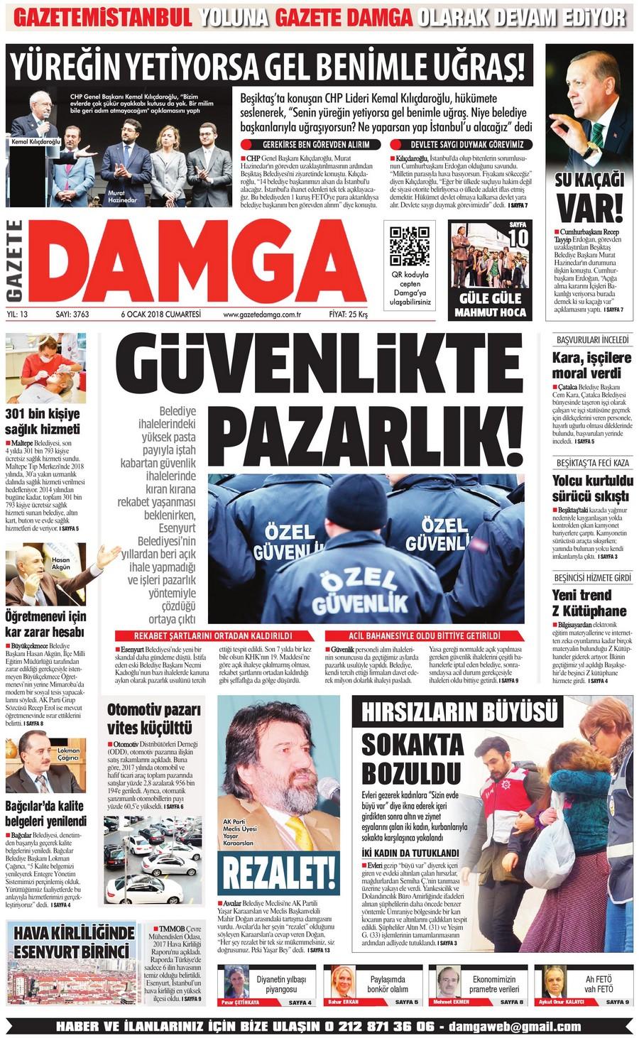 Gazete Damga - 06.01.2018 Manşeti