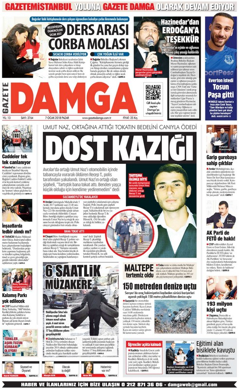 Gazete Damga - 07.01.2018 Manşeti