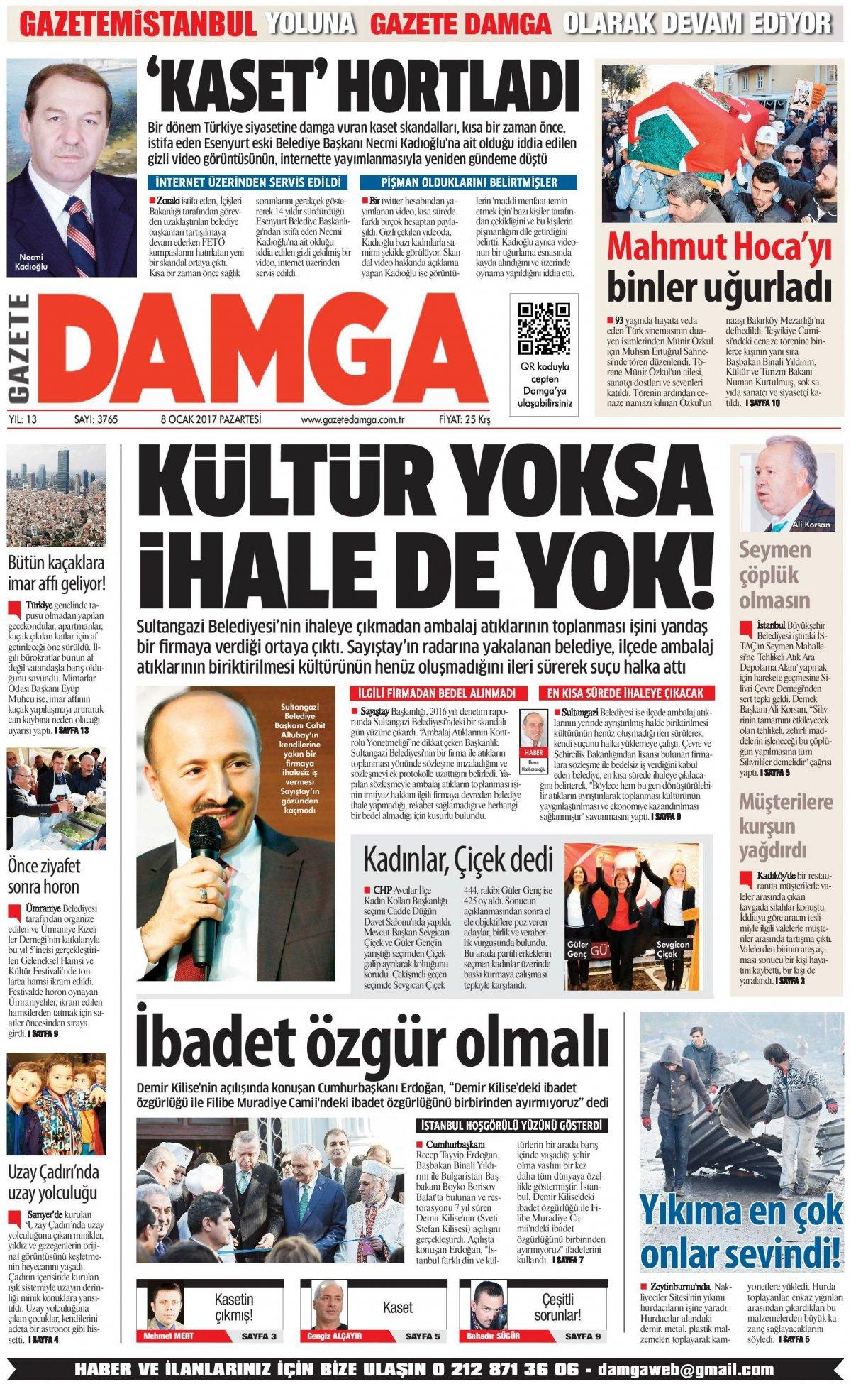 Gazete Damga - 08.01.2018 Manşeti