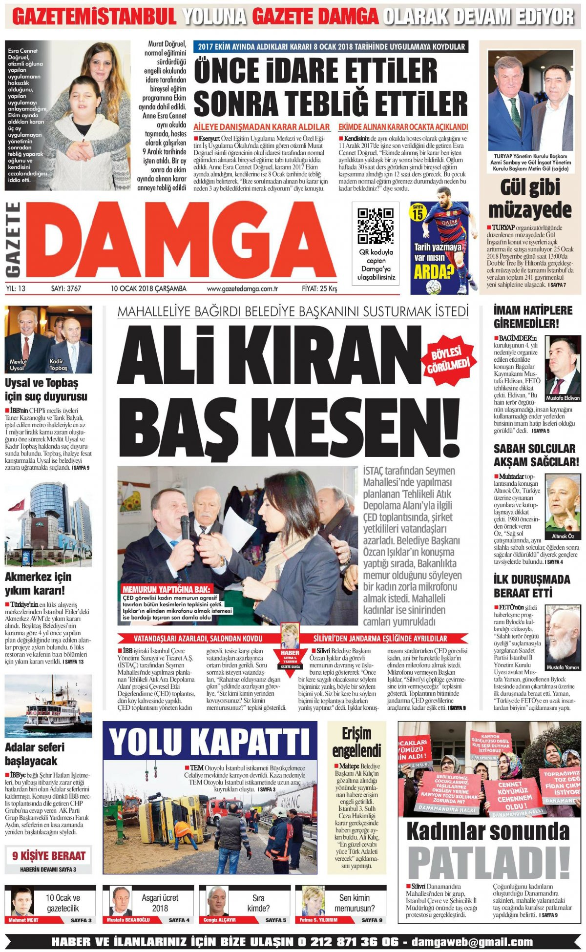 Gazete Damga - 10.01.2018 Manşeti
