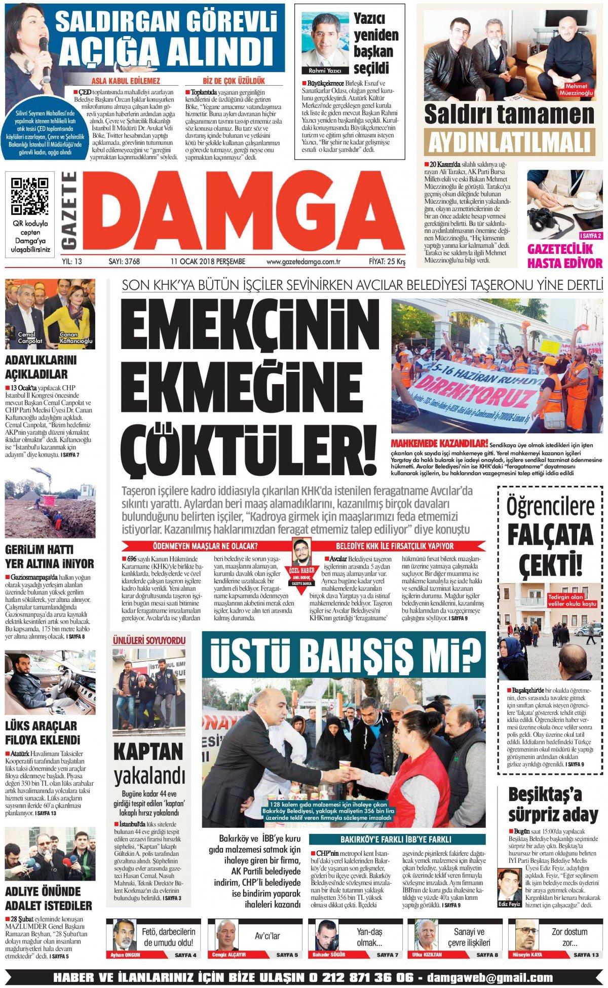 Gazete Damga - 11.01.2018 Manşeti