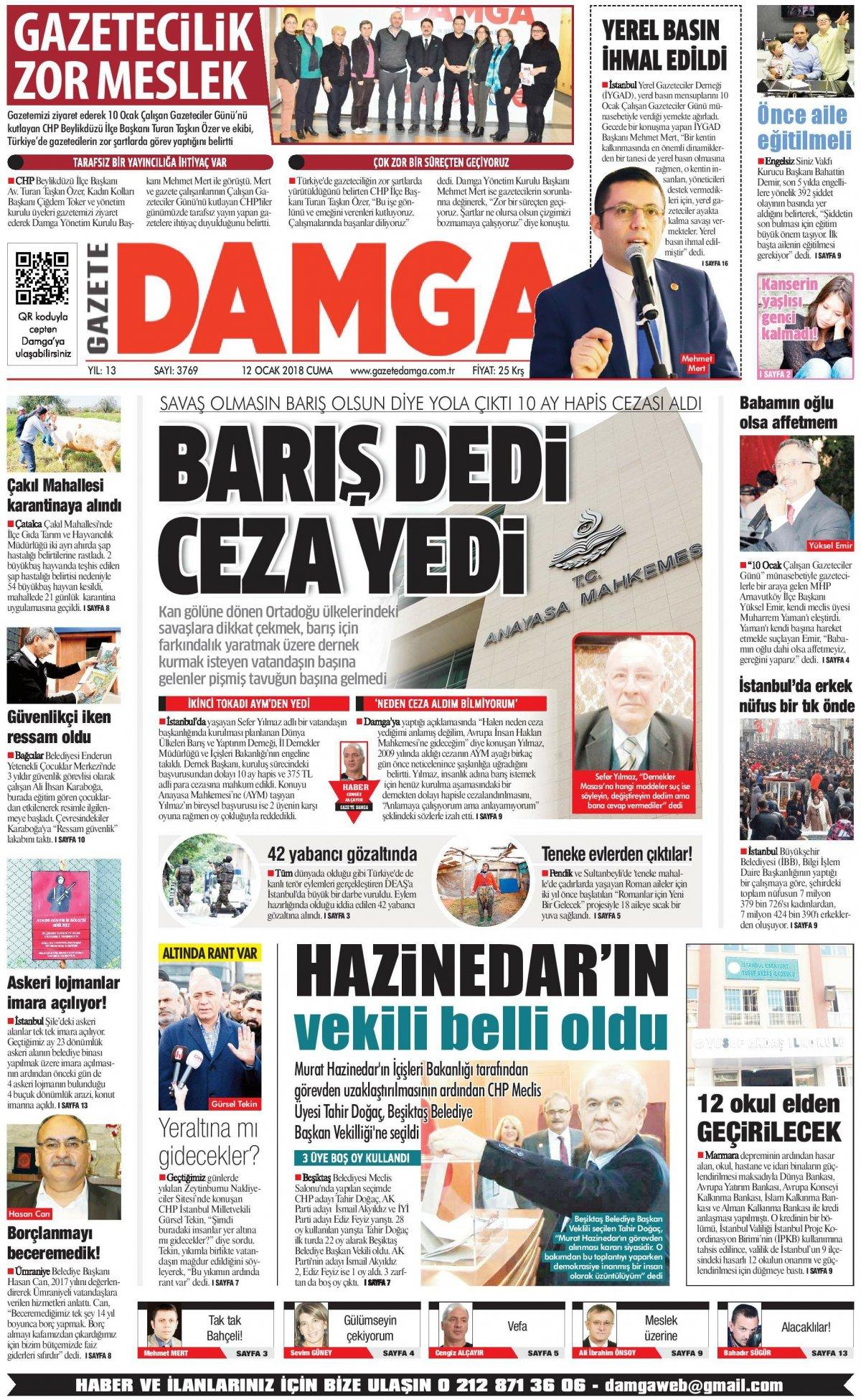 Gazete Damga - 12.01.2018 Manşeti