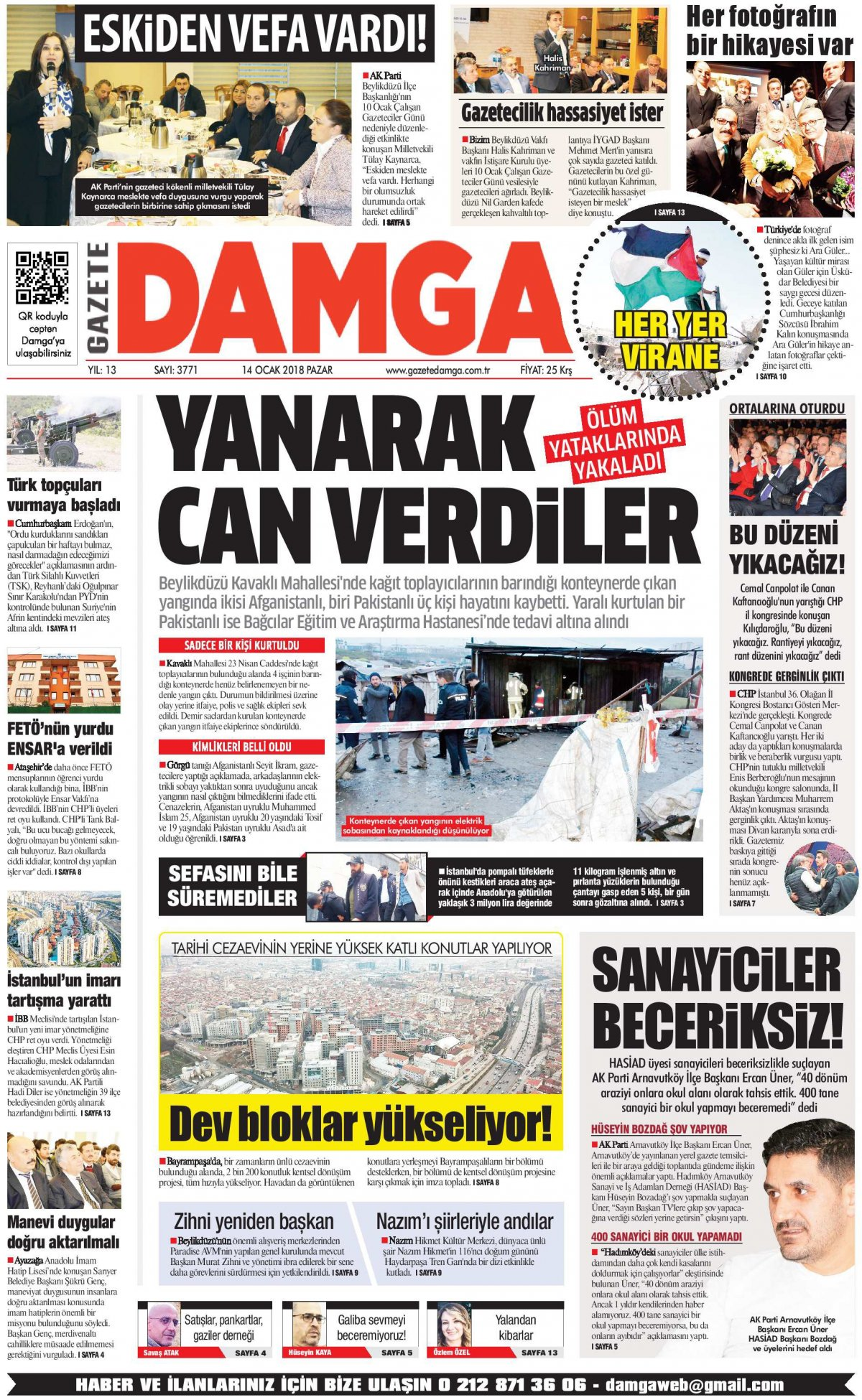 Gazete Damga - 14.01.2018 Manşeti
