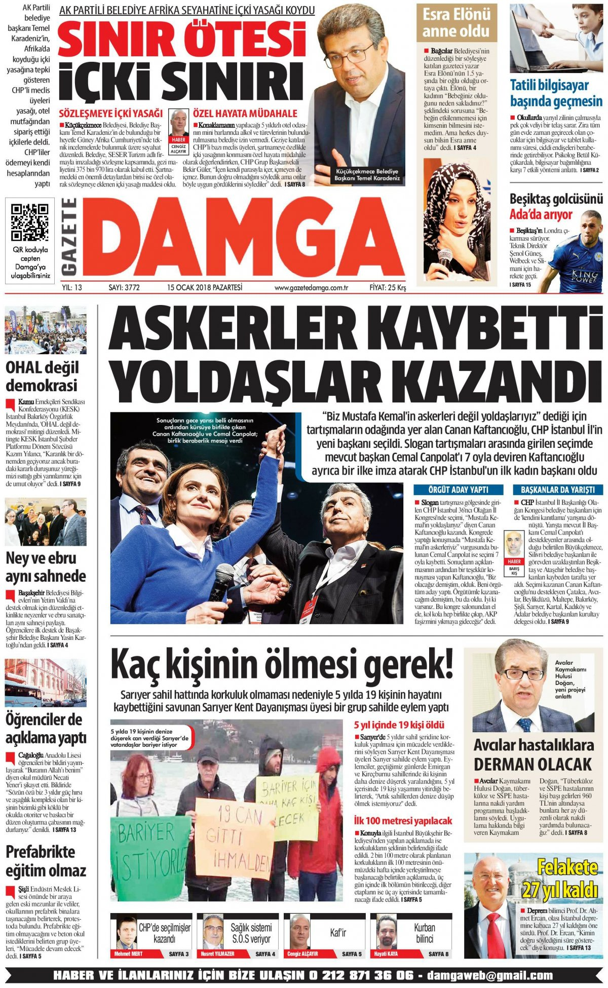Gazete Damga - 15.01.2018 Manşeti