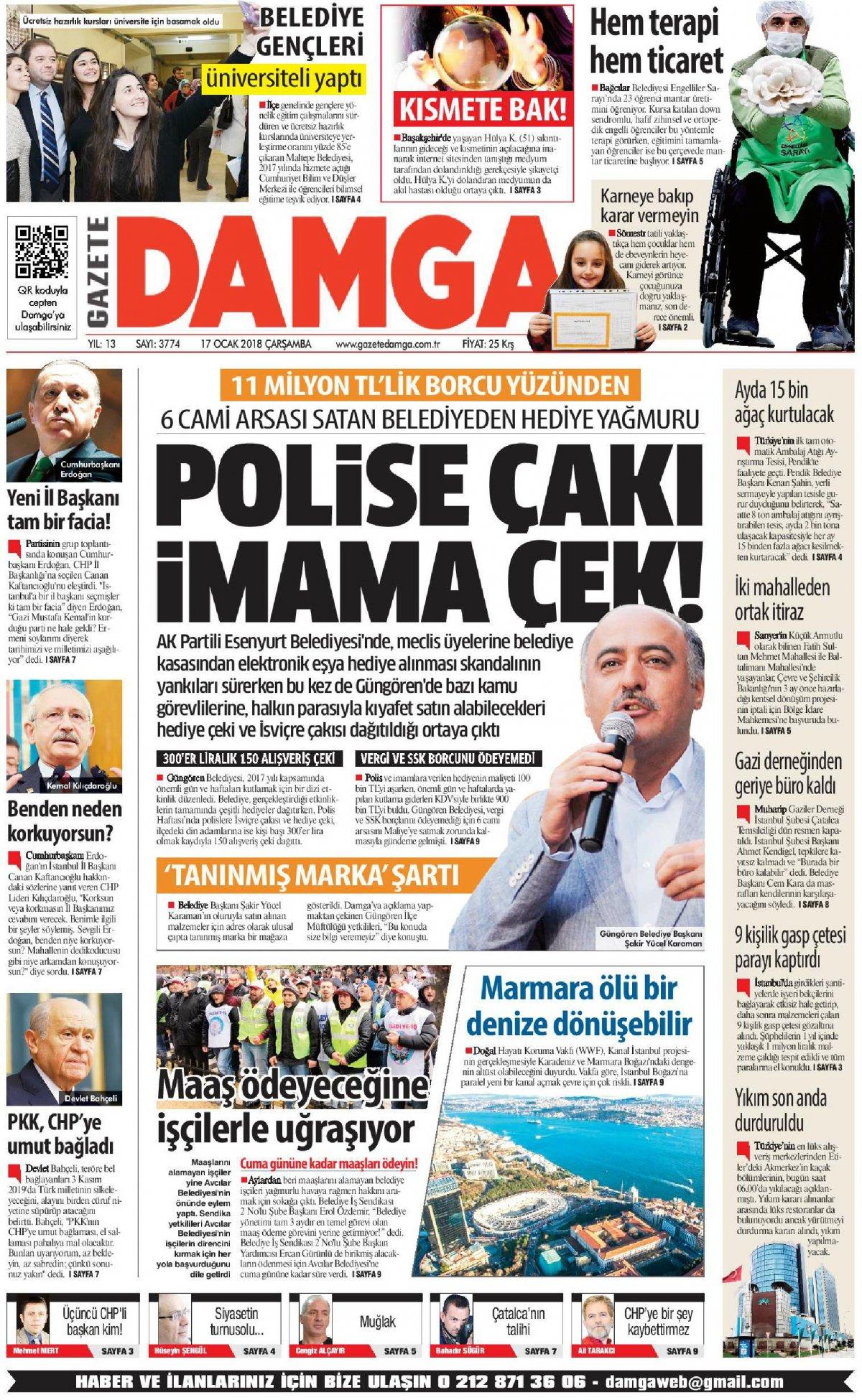 Gazete Damga - 17.01.2018 Manşeti