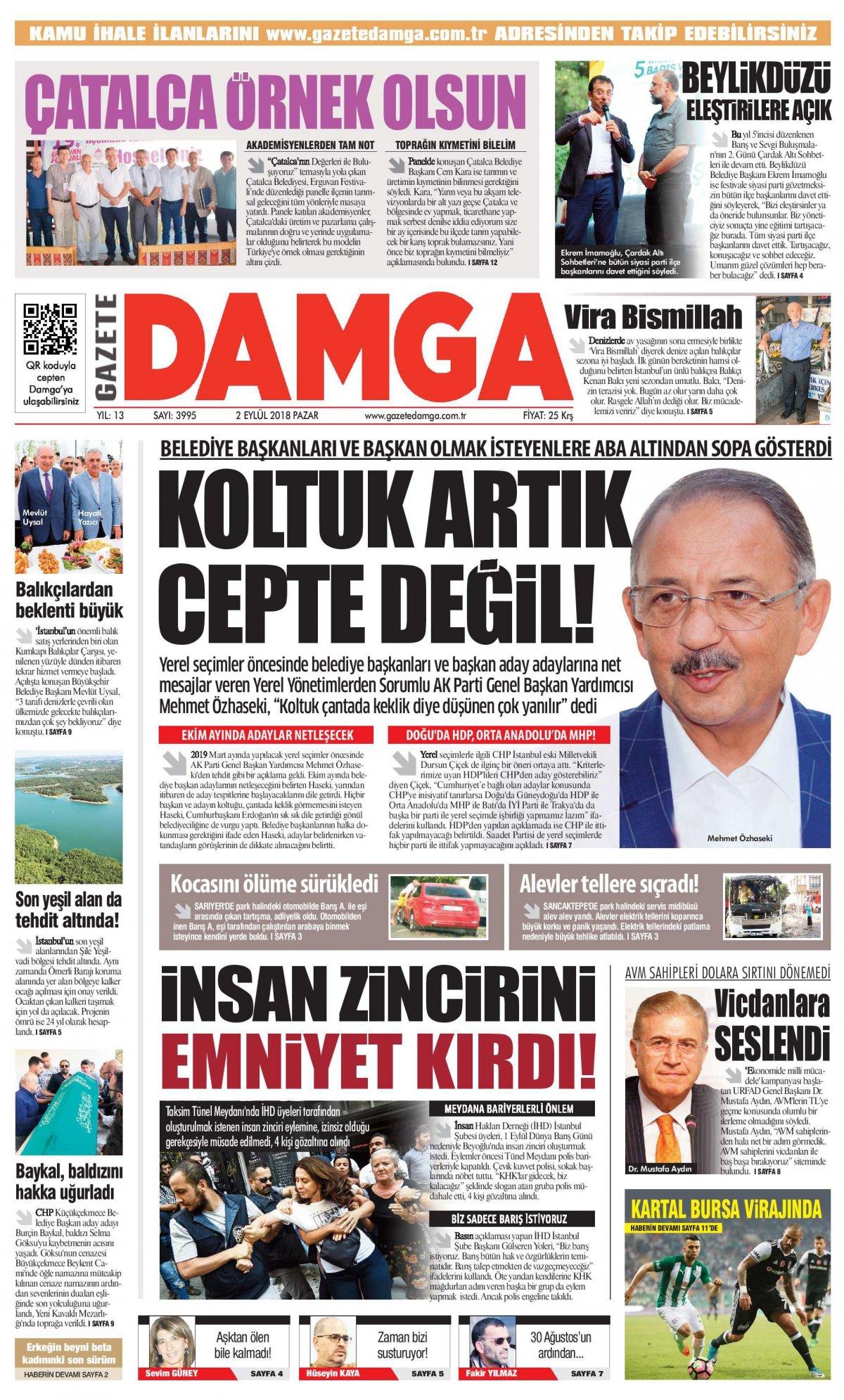 Gazete Damga - 02.09.2018 Manşeti