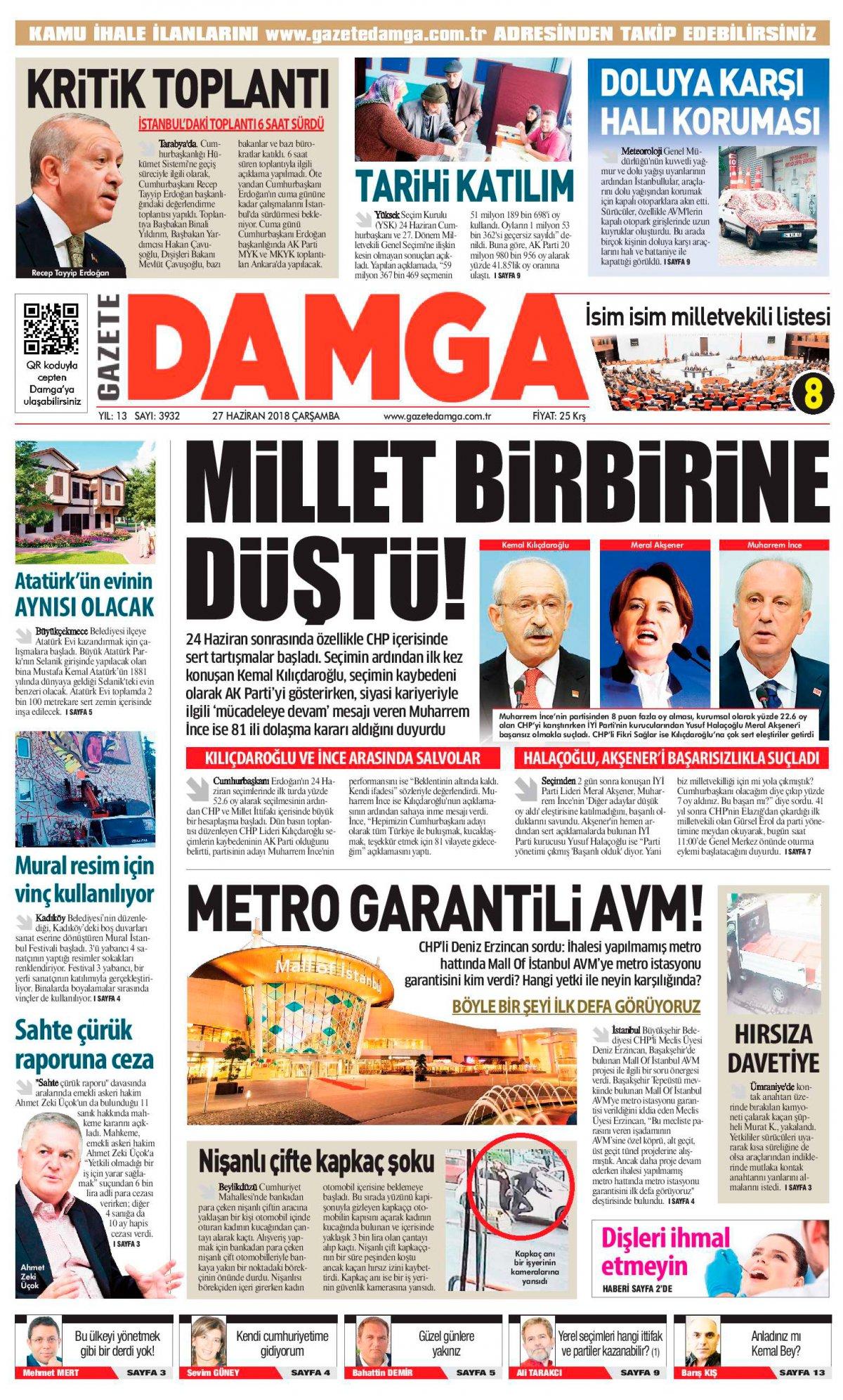 Gazete Damga - 27.06.2018 Manşeti