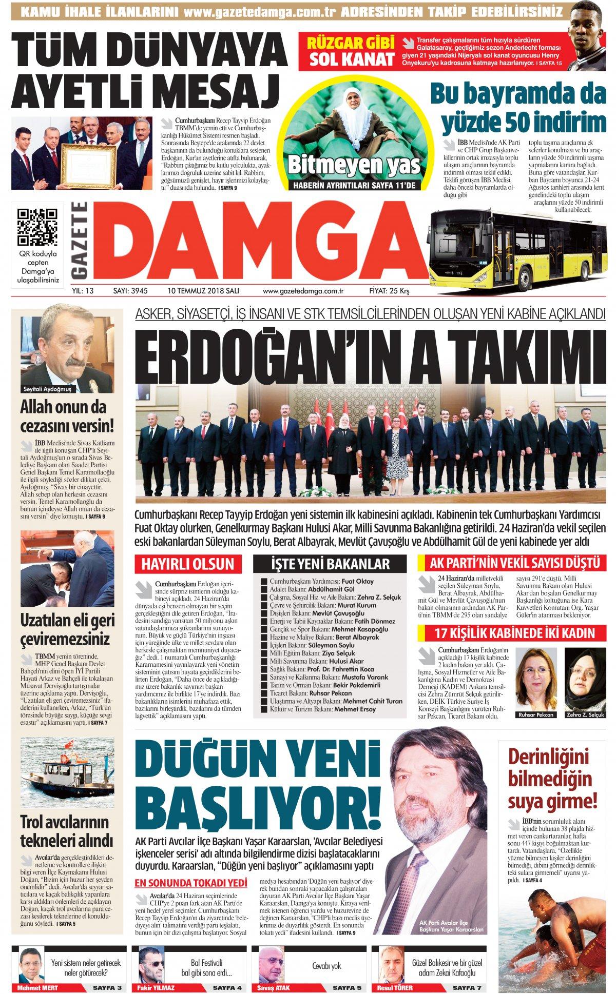 Gazete Damga - 10.07.2018 Manşeti