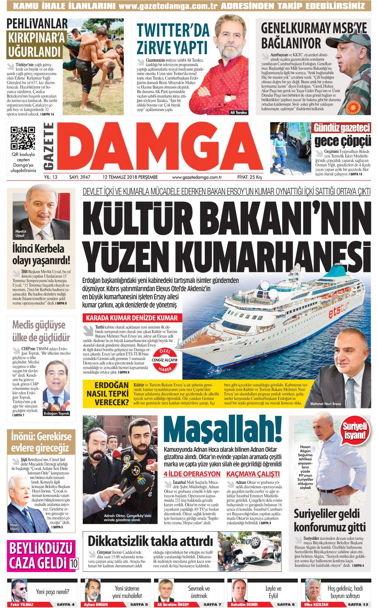 Gazete Damga - 12.07.2018 Manşeti