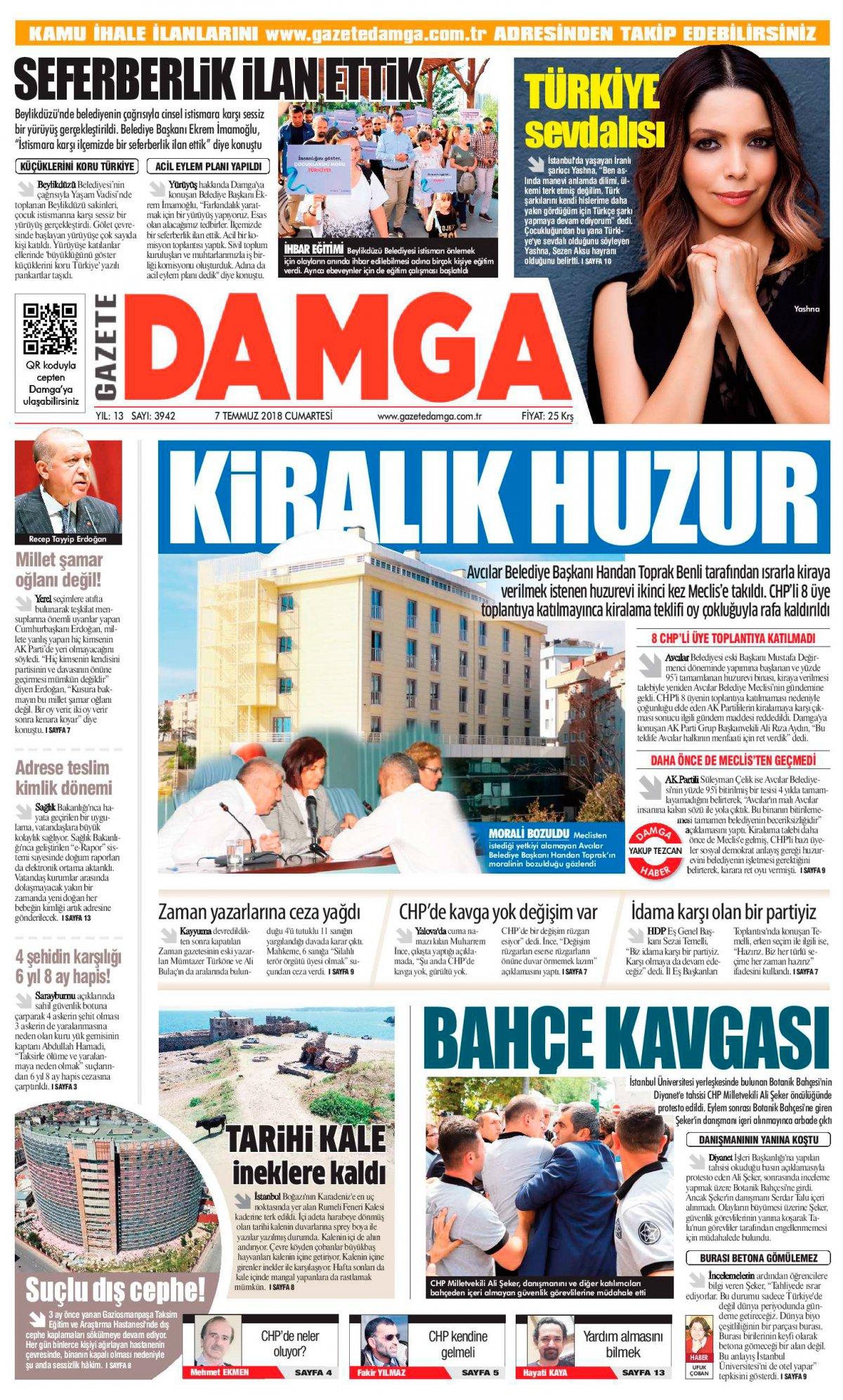 Gazete Damga - 07.07.2018 Manşeti