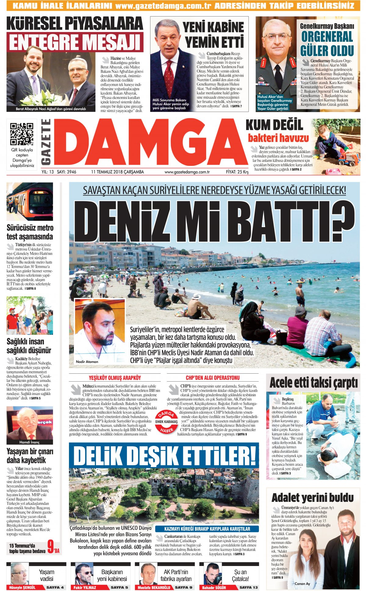 Gazete Damga - 11.07.2018 Manşeti