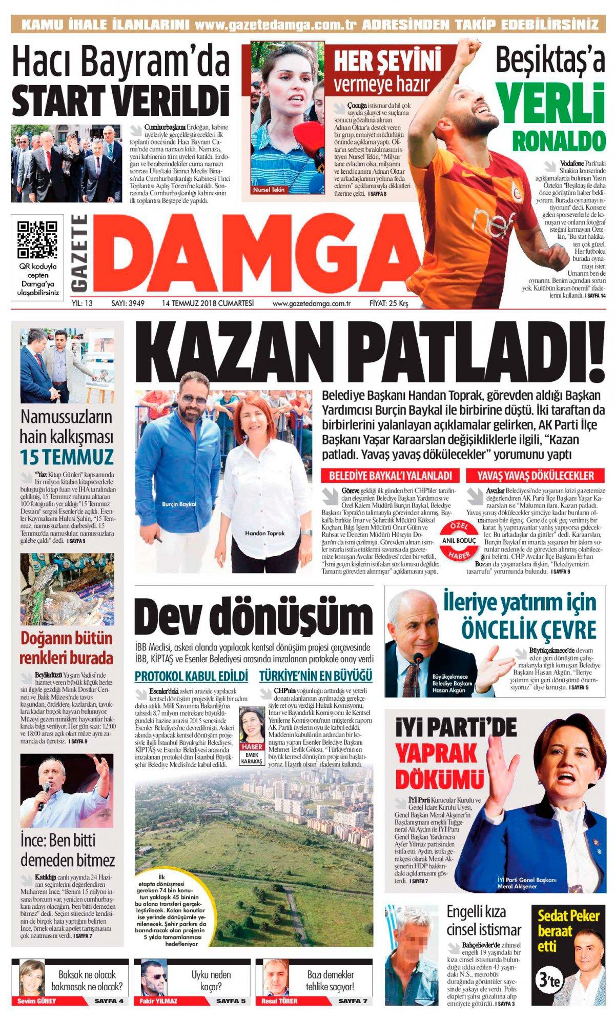 Gazete Damga - 14.07.2018 Manşeti