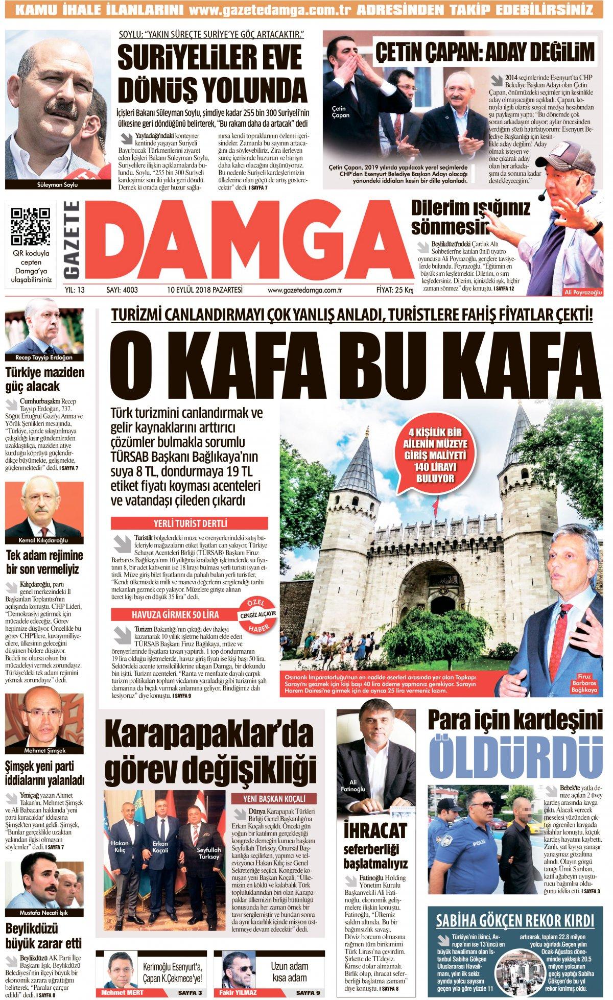 Gazete Damga - 10.09.2018 Manşeti