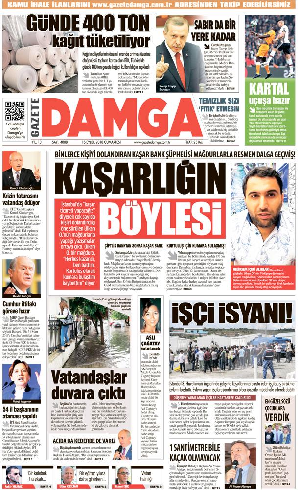 Gazete Damga - 15.09.2018 Manşeti