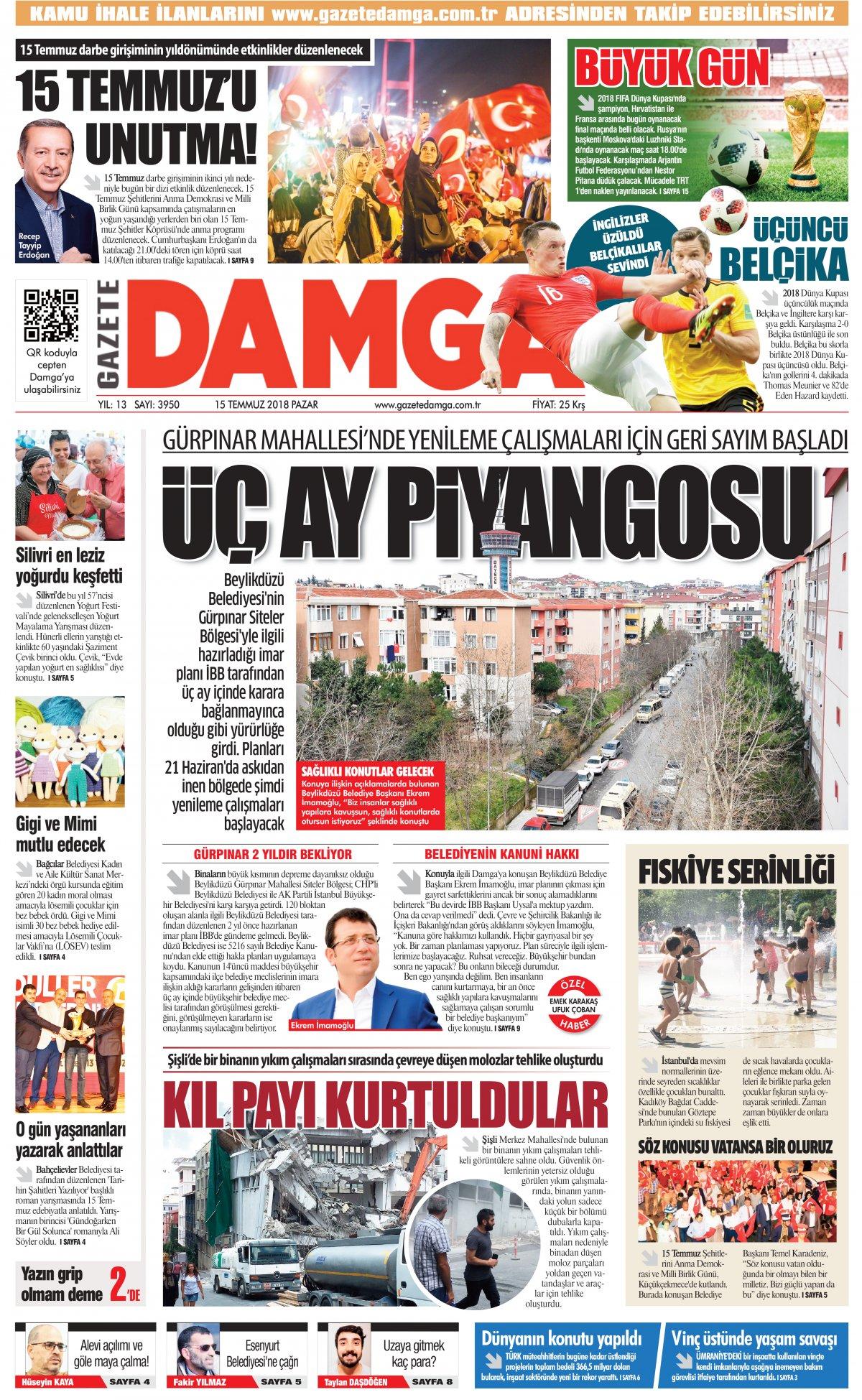 Gazete Damga - 15.07.2018 Manşeti