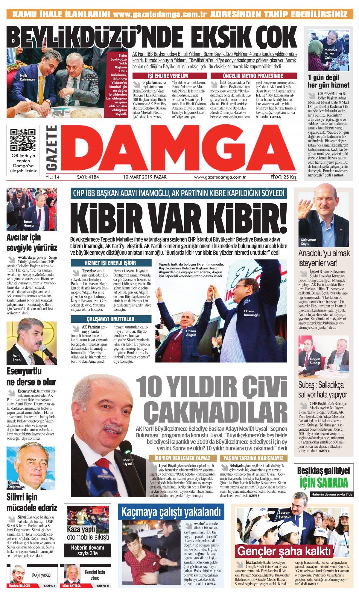 Gazete Damga - 10.03.2019 Sayfaları