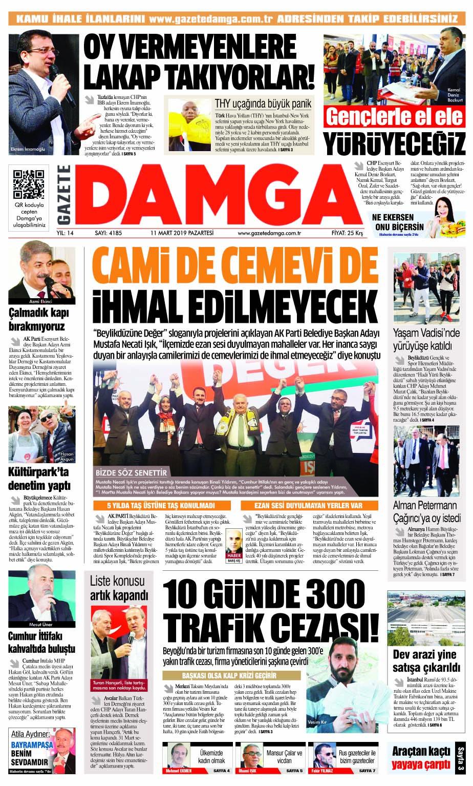 Gazete Damga - 11.03.2019 Sayfaları